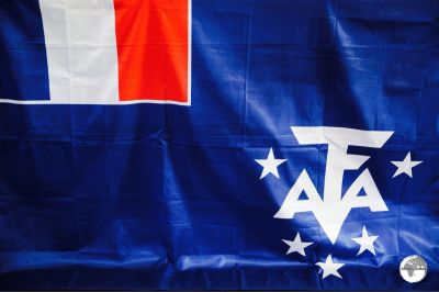 The flag of the French Southern and Antarctic Lands at the TAAF Information centre.
