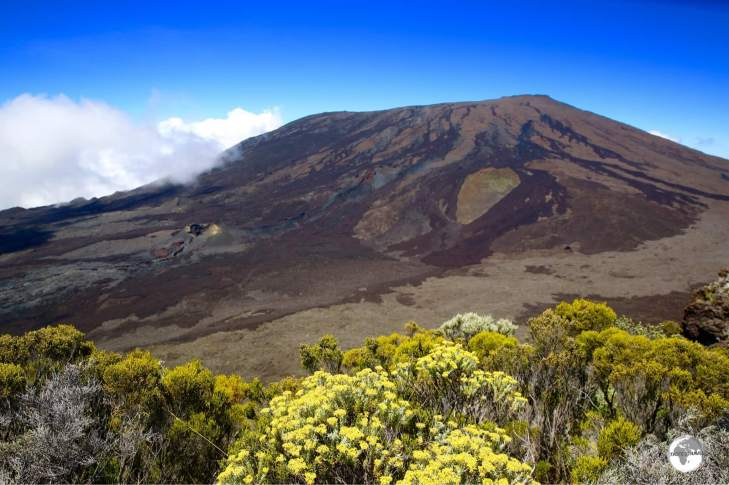 A beautiful view to the summit of the Piton de la Fournaise from the hiking trail.