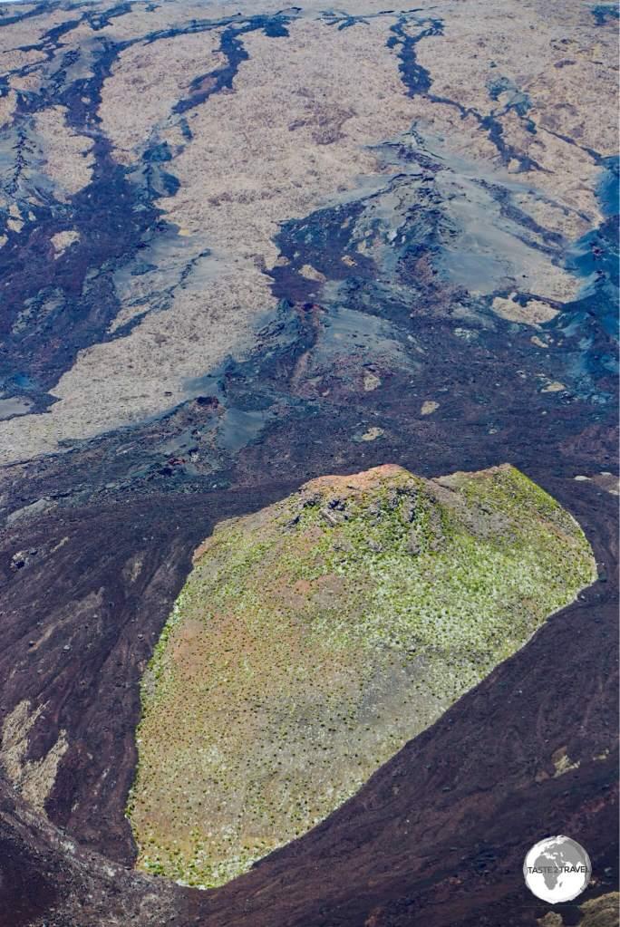 Lava flows on the slopes of the Piton de la Fournaise.