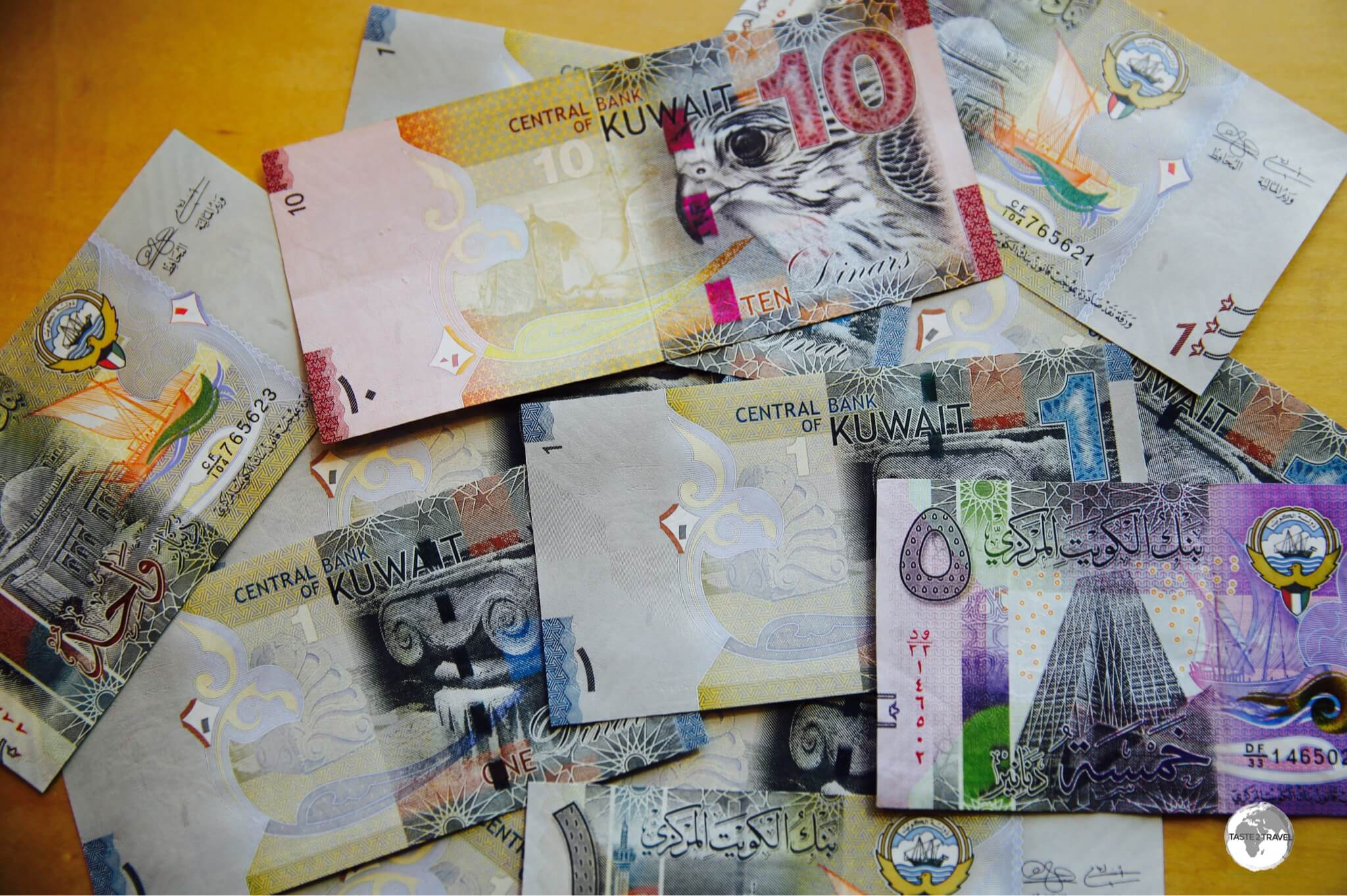 Colourful Kuwaiti Dinars, one of the world's most valuable currencies.