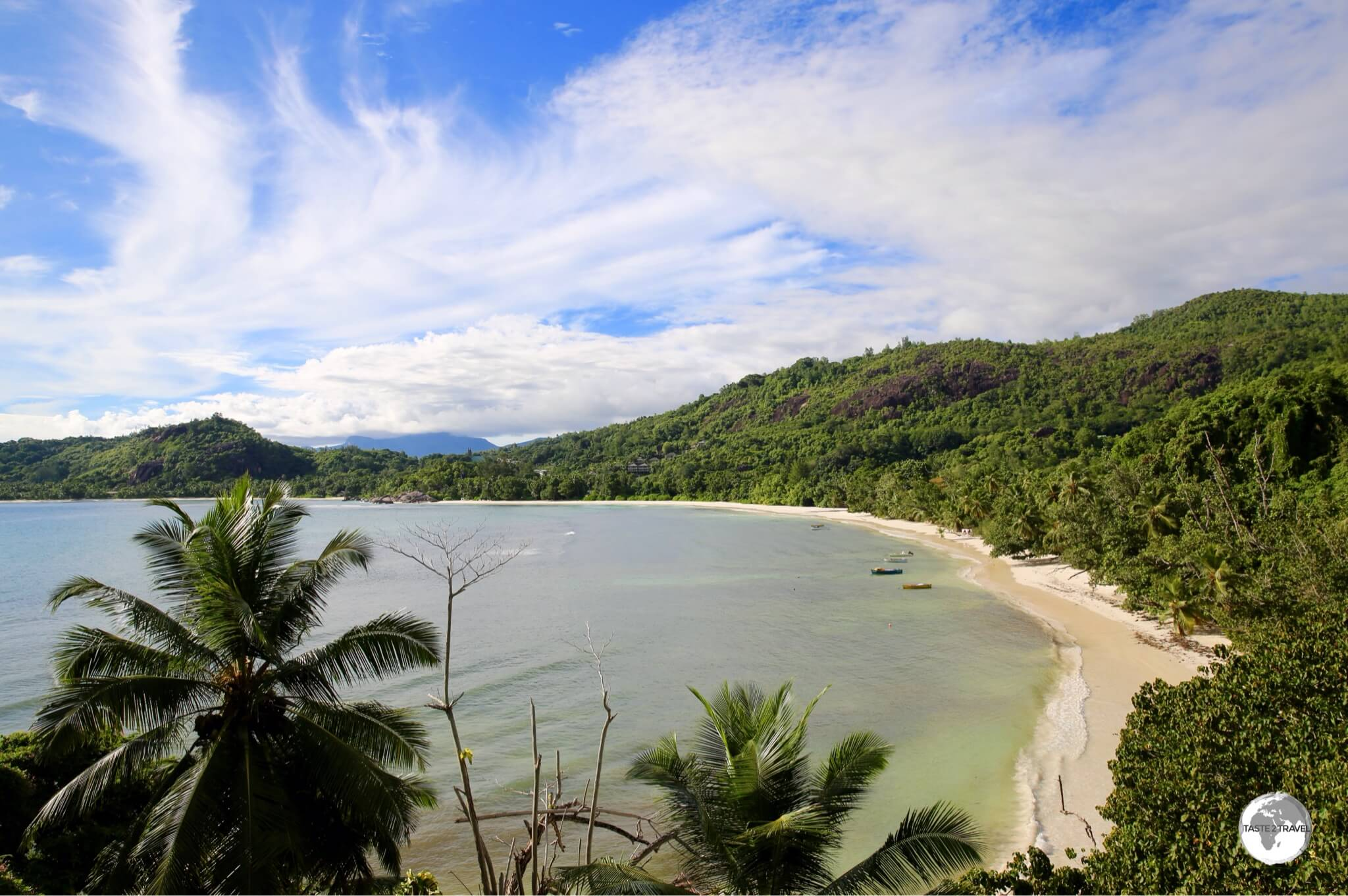 A panoramic view over Baie Lazare, one of the finest beaches on the south-west coast of Mahé .