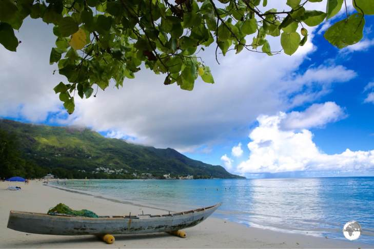 A traditional fishing boat on Beau Vallon beach.