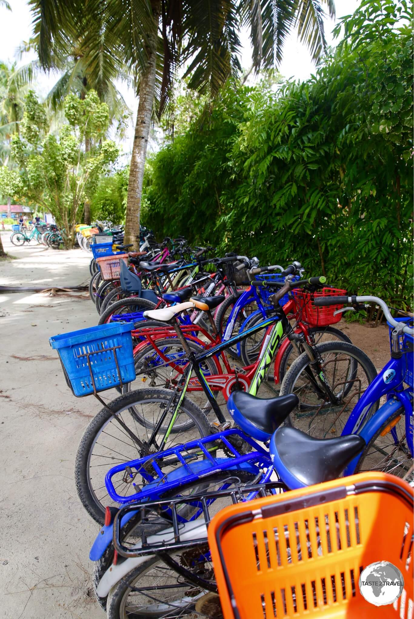 A small section of the busy bicycle parking area at Anse Source d'Argent.