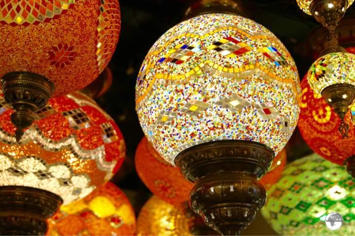 Colourful glass lanterns on sale at Manama Souk.