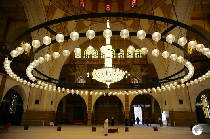 The interior of the Al Fatih Mosque, the largest place of worship in Bahrain.