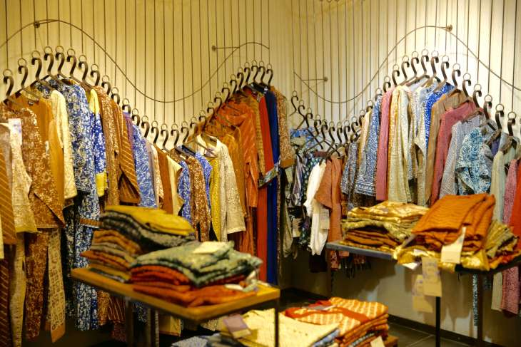 The stylish Aranya boutique sells traditional, handmade cotton and silk clothing which is dyed using natural colours.