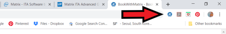 When you install the 'Book With Matrix' utility, a clickable booking button will be automatically added to your search bar.