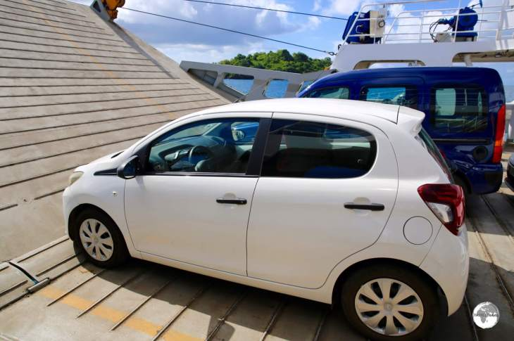 My rental car on the inter-island ferry.