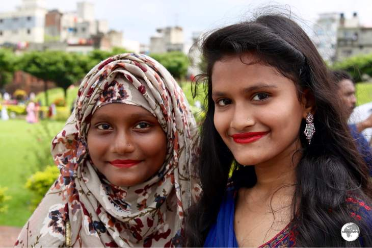 Two local girls enjoying a day out at Lalbagh Fort during the 'Eid' three-day holiday.