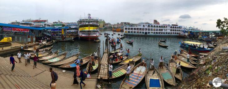 Sadarghat Boat Terminal in Dhaka.