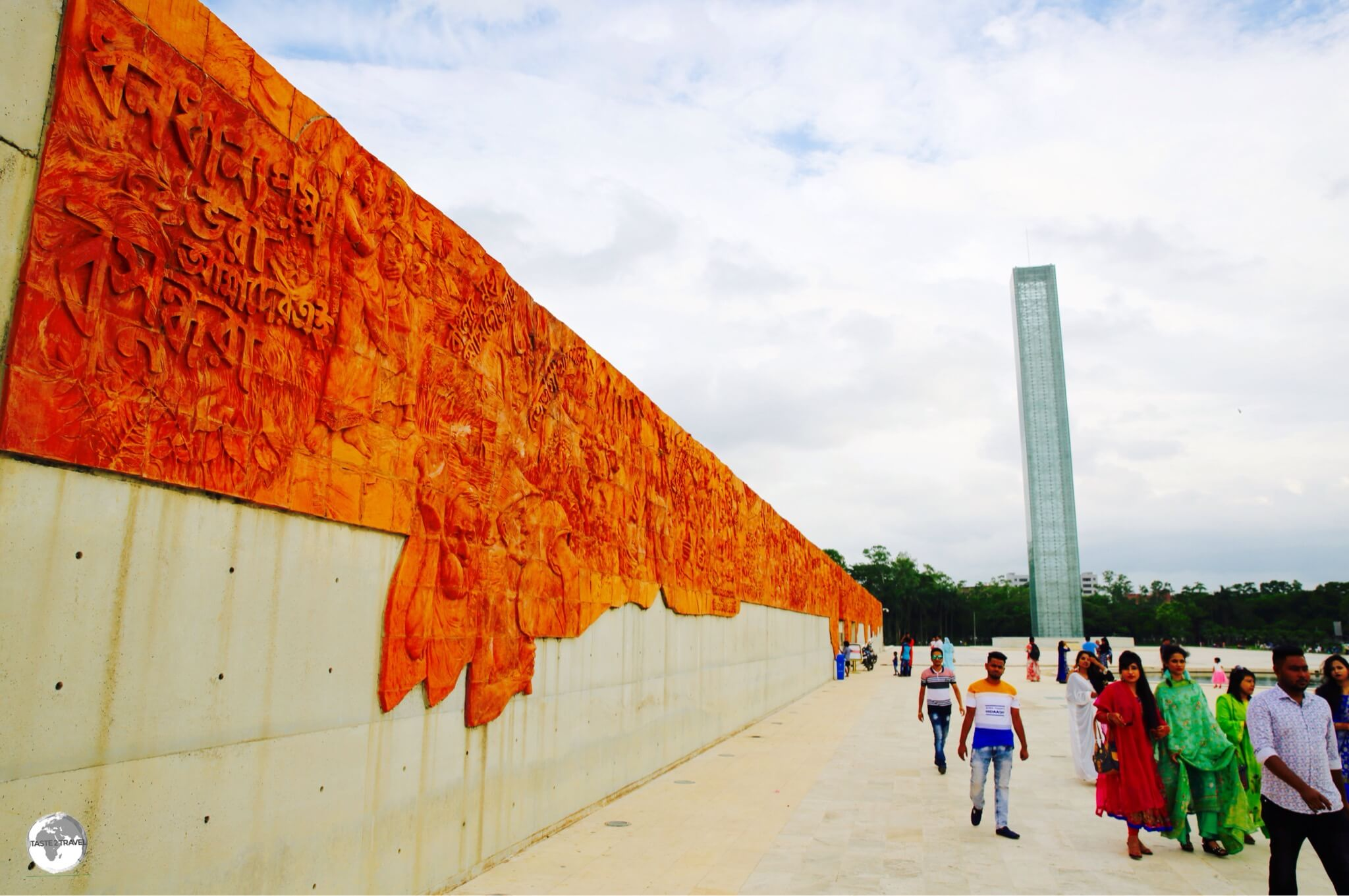 Terracotta murals and the 50-metre high 'Tower of Light' mark the entrance to the newly built Museum of Independence.