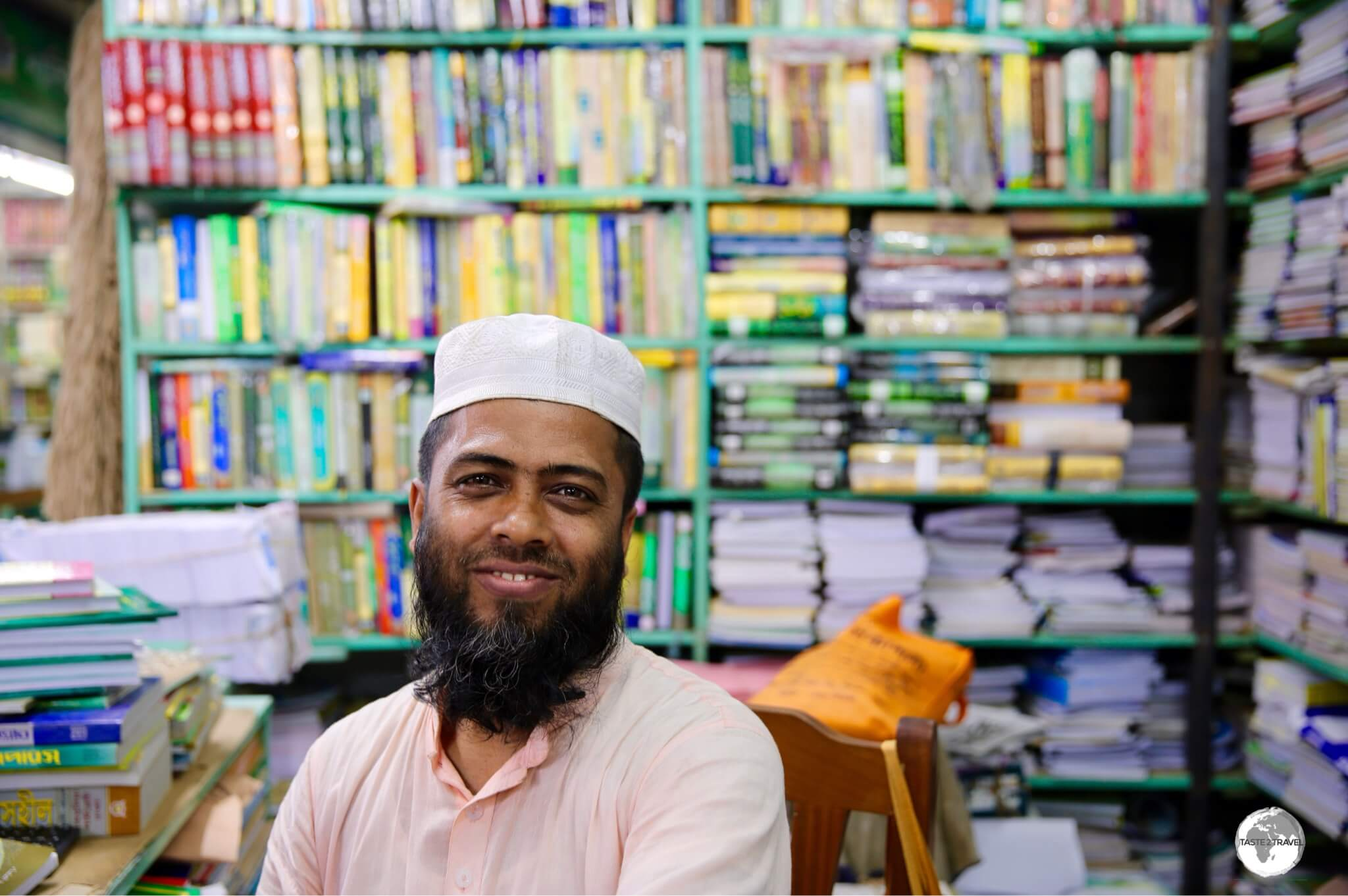 A seller of Islamic books at Bongo Bazar.