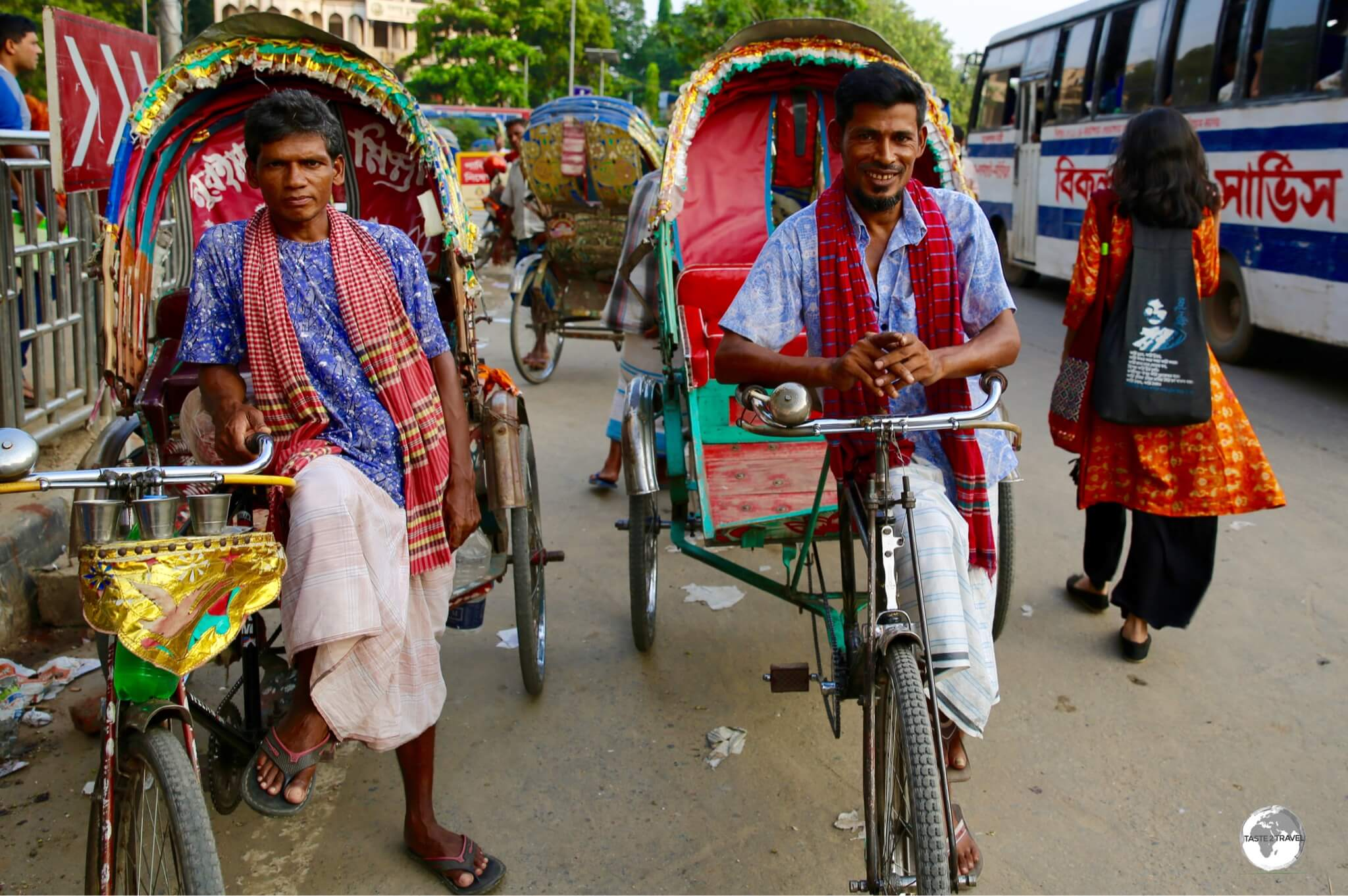 Just two of the estimated 800,000 bicycle rickshaws in Dhaka.