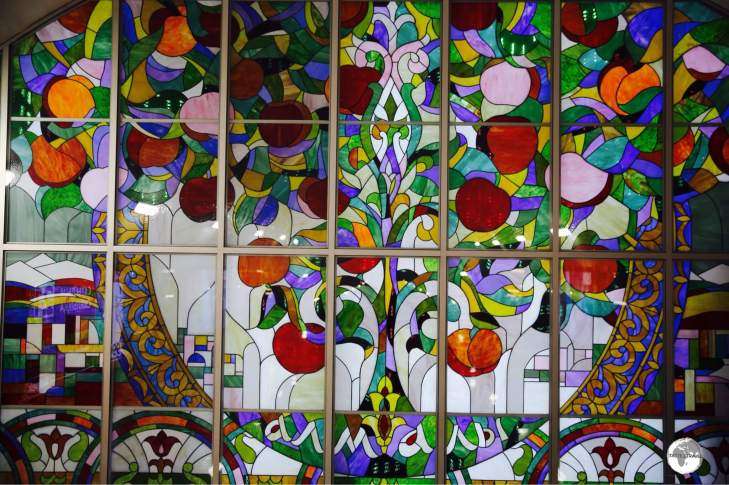 "Apple tree's are everywhere in the city of apples, including this stained-glass artwork at the ""Almaly"" metro station."