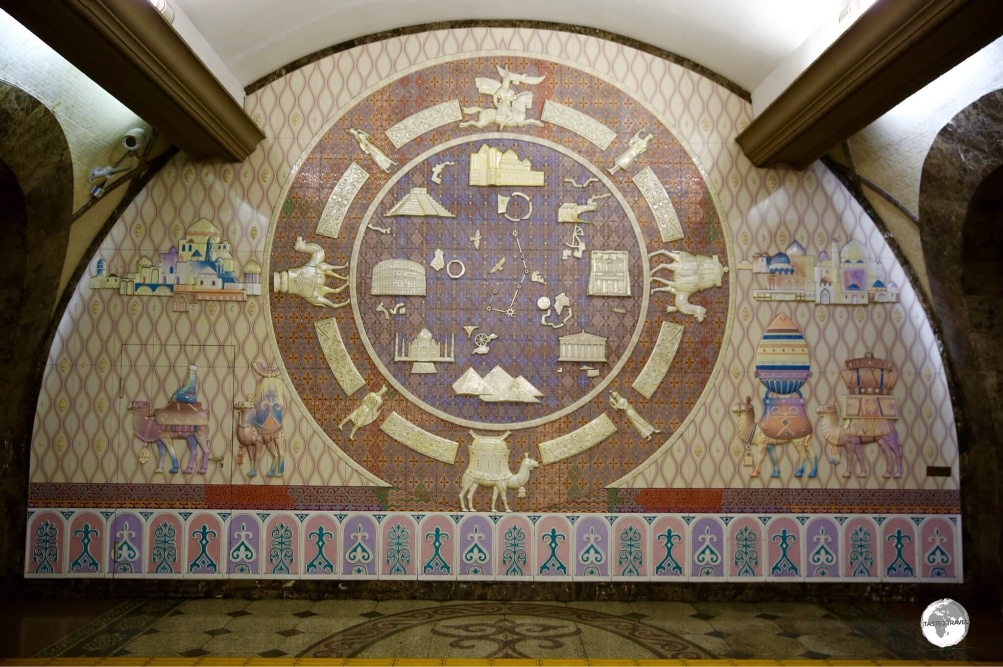 A ceramic mural depicts scenes from the Silk Road at Zhibek Zholy (Silk Road) Metro Station.