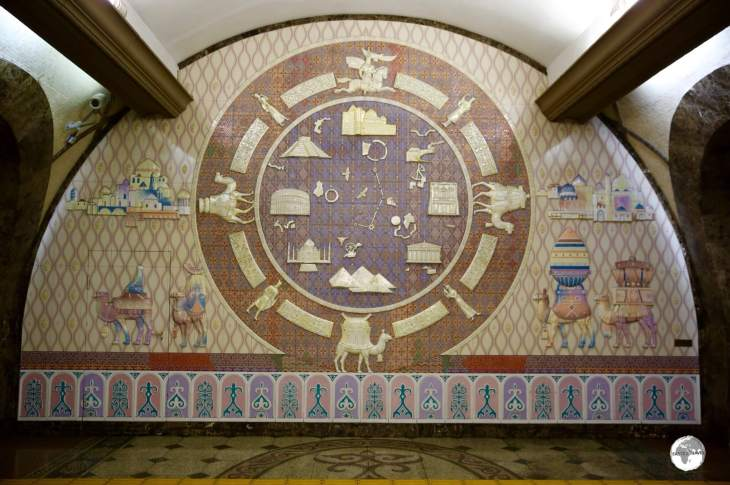 A ceramic, Silk Road, mural at Zhibek Zholy (Silk Road) Metro Station.