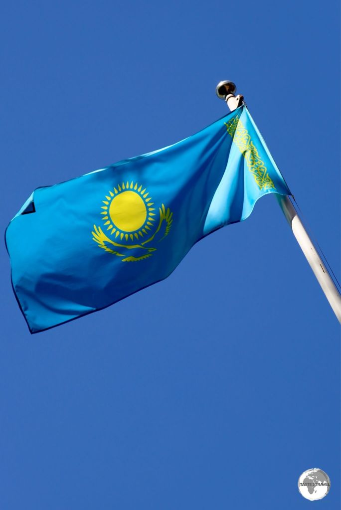 The flag of Kazakhstan flying in Almaty.