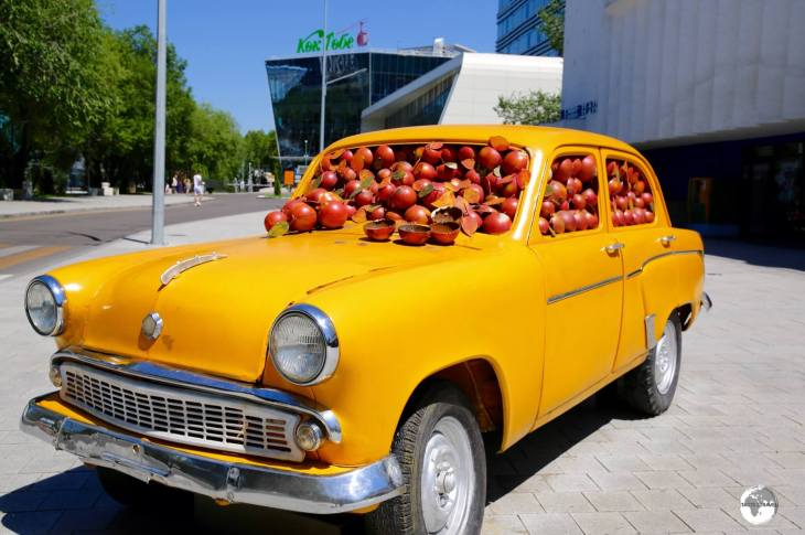 A quirky sculpture dedicated to Almaty - the city of the Apple.