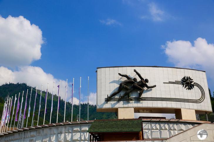 The entrance of the Medeu Alpine arena.