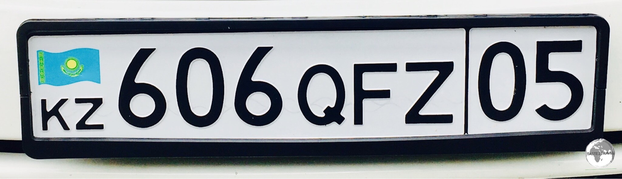 A Kazakh license plate.