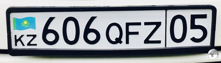 A Kazakh license plate.