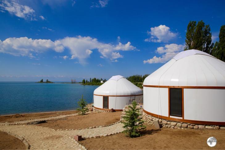 Newly built yurts at the Altyn Bulak Lakeside Resort offer panoramic views of lake Issyk-Kul.