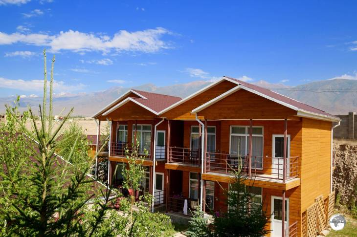 A view of one of the accommodation buildings at the Altyn Bulak Lakeside Resort.