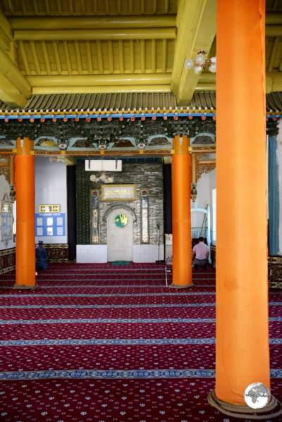 Interior view of the Dungan mosque.