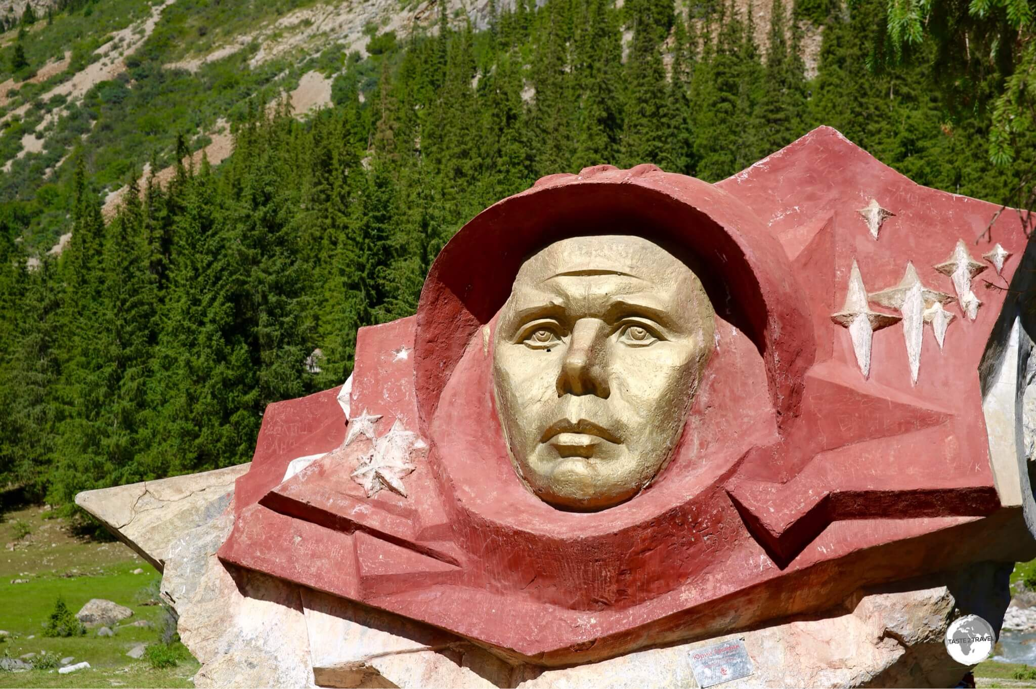The face of cosmonaut Yuri Gagarin is carved into a boulder in the Barskoon valley.