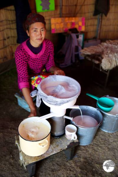 Each morning, one of the family members separates cream from the fresh milk. This is then served with pancakes and jam for breakfast.
