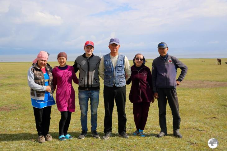 The Kyrgyz family, and their adopted US Peace Corps volunteer, who I stayed with in a yurt camp at Lake Son-Kul.