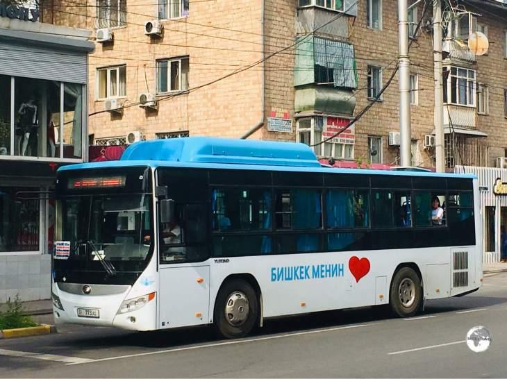 A bus in downtown Bishkek.