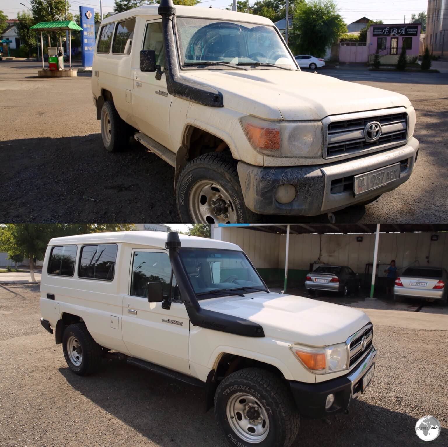 A much needed car wash in Osh! Before and after photos of my amazing, go-anywhere, Toyota Land Cruiser, perfect for the rough Kyrgyzstan roads.
