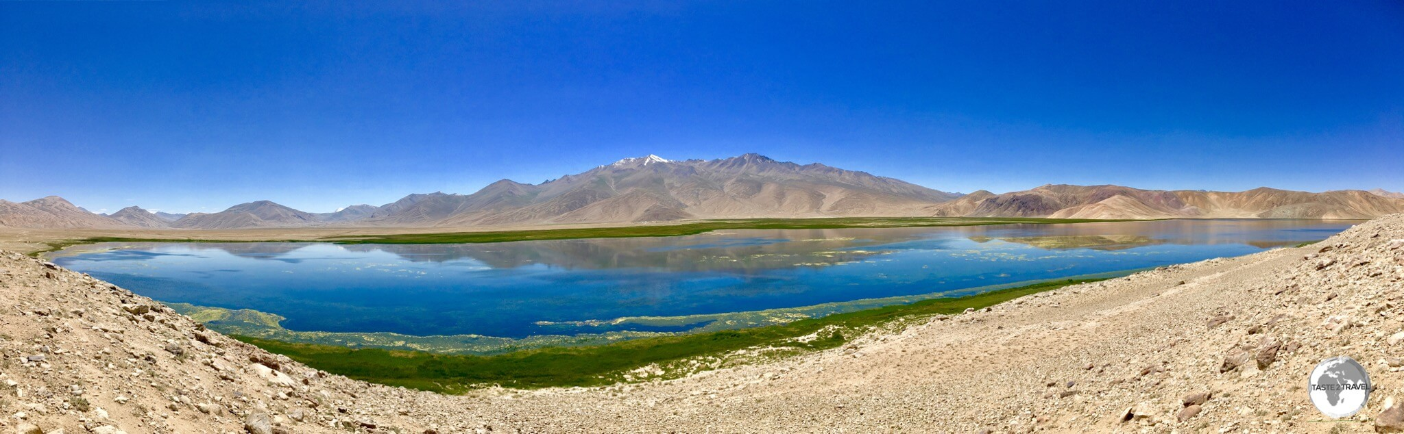 A panoramic photo of Bulunkul lake.