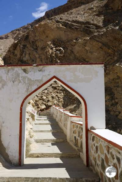 The entrance to Bibi Fatima springs, which lie a short drive from Yumchun fort.