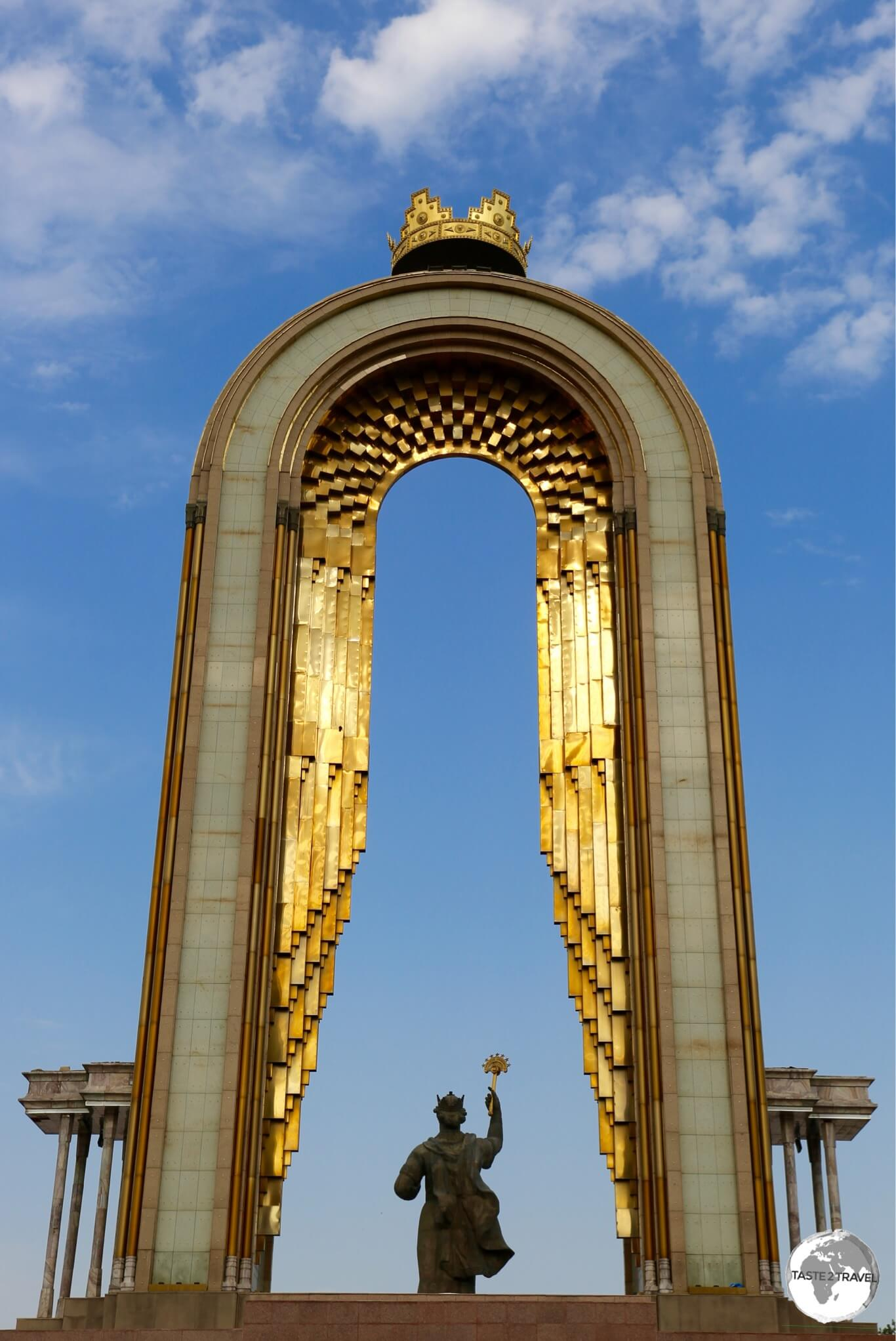 One of many monuments in Dushanbe, the Ismoili Somoni Statue illuminated at sunset.