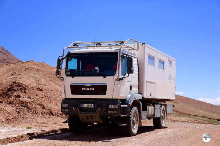 A French couple were driving this comfortable beast along the Pamir highway. A very nice way of cruising the rough roads of Tajikistan – if you can afford the investment!