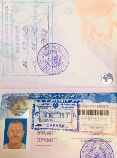 My visa for Tajikistan, with the additional permit for Gorno-Badakhshan Autonomous Region.