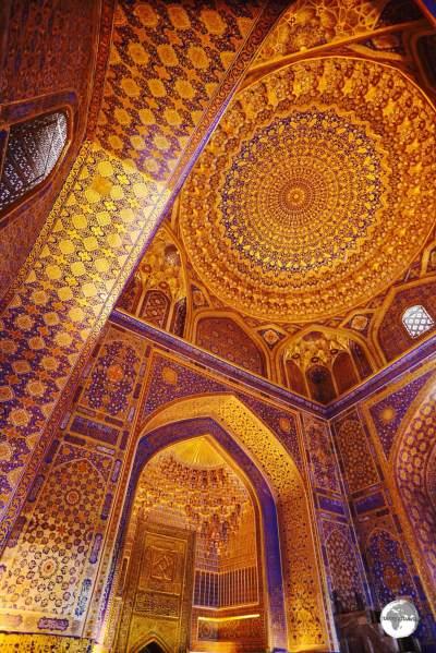 The incredibly beautiful interior of the Tilya-Kori Madrasah.