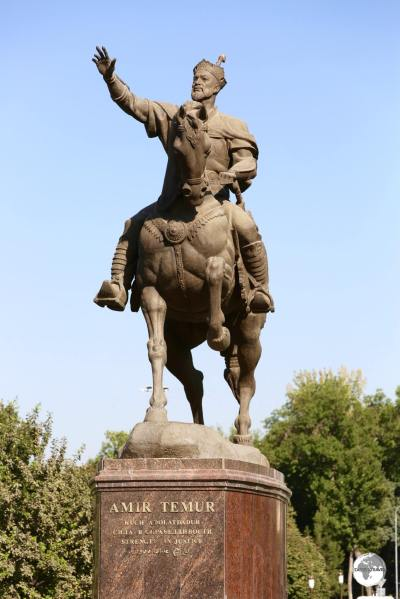 A statue of Amir Timur which is located in the park opposite the museum.