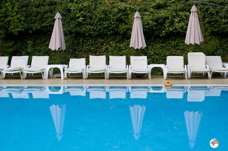 The pool at the Radisson Blu hotel is the perfect place to relax after a day of exploring Tashkent.
