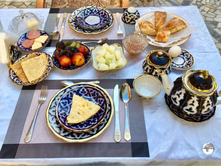 Breakfast for one! My amazing breakfast at the Hotel Old Bukhara.