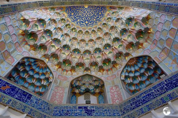 The incredibly ornate entrance to the Miri-Arab Madrasah, Bukhara.