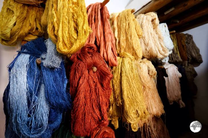 Colourful woollen yarn at a carpet co-operative in Khiva old town. o-operative in Khiva old town.