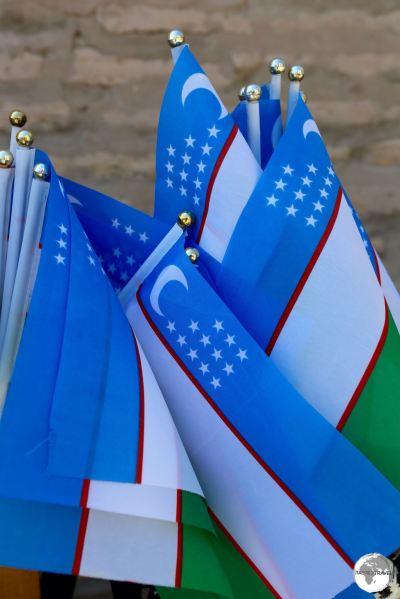 Souvenir flags of Uzbekistan on sale in Khiva.