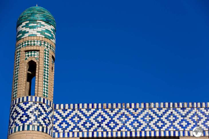 Detail of the tiled roof of the Islam Khoja Madrasah in Khiva.