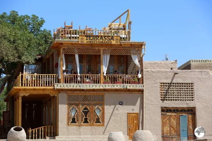 A view of the popular Restaurant Terrassa in Khiva, a wonderful place to sample local cuisine.