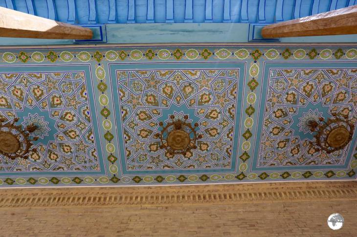 Detail of the ornate palace awning at Nurullaboy Saroyi.