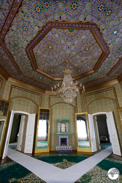 The ornate ceiling of the palace at Nurullaboy Saroyi in Khiva.