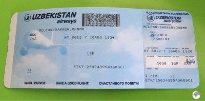An Uzbekistan Airways boarding pass.